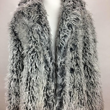90's Silver Grey Tipped Faux Fur Super Shaggy Coat // S - M