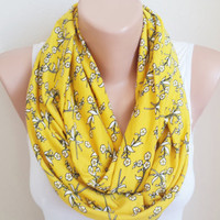Summer Yellow Floral infinity Scarf, Flower Print, Colorful Cotton Jersey Lightweight  Soft Infinity Scarf
