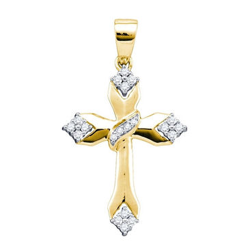 14k Yellow Gold Womens Round Diamond Christian Cross Crucifix Religious Pendant 1/5 Cttw