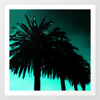 Palm Trees Silhouette - Teal Sunset Art Print by Moonshine Paradise