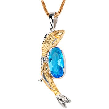 Inox 316L Steel Gold IP Twin Koi Fish with Sapphire Pendant Necklace