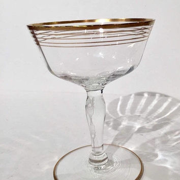 Gold Trim Crystal Martini Glasses, Set of 6 Crystal Glasses with Gold Trim, Gold Trim Champagne Coupes, Tall Sherbet Cups, Retro Barware