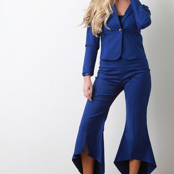 Blazer With High Waisted Flared Pants Set