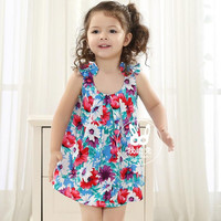 New Girls Children Cotton Floral Vest Dress 5 pcs/lot Kids Summer Girls Fashion Casual Floral Printing Dress