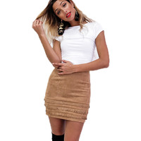 Tassel Suede Skirt High Waisted Bodycon Skirt Womens Suede Leather Pencil Skirt Slim Mini Women Skirt Saias