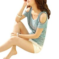 Scoop Neck Beads Decor Cut out Shoulder Pullover Design Shirt
