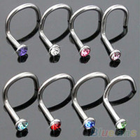 10Pcs Mix Colors Rhinestone Hook Bone Bar Pin Piercing Jewelry Nose Studs Rings  4QK3