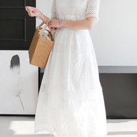 Lace Overlay Top And Long Skirt (Set)