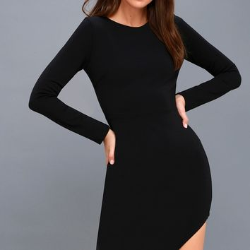 Adair Black Long Sleeve Asymmetrical Bodycon Dress