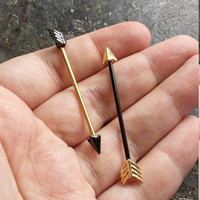 Duo-Toned ARROW 14gauge (1.6mm) Industrial Barbells for Scaffold Piercings
