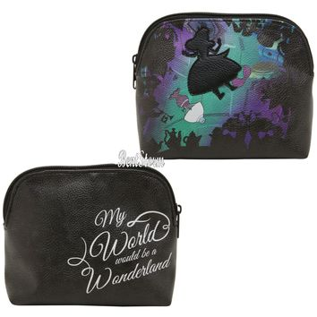 Licensed cool Disney Alice in Wonderland Falling Silhouette Makeup Cosmetic Bag Purse NEW
