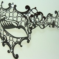 Hot Phantom of the Opera Venetian Style Metal Laser Cut Masquerade Party Mask w/ Sparkling Rhinestones by Kayso International Inc from Sophia's Galleria