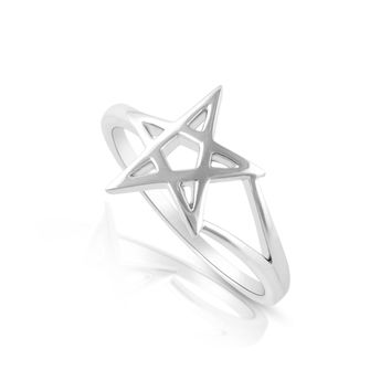 Sterling Silver Pentagram Star Ring