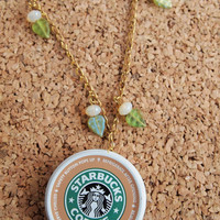 Starbucks Charm Necklace - recycle repurpose lid can coffee top gold chain beads leaves FREE shipping to USA