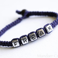 Clearance Sale, Navy Blue Freak Hemp Bracelets for Best Friends, Stay Weird, Hand Knotted Quirky Unisex Gift