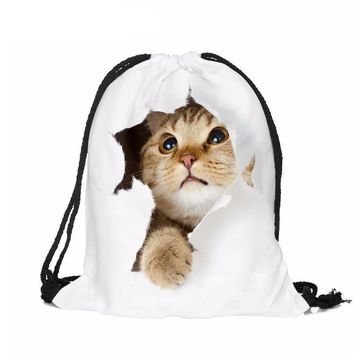 Cat Scapes Rips Drawstring Bags Cinch String Backpack Funny Funky Cute Novelty