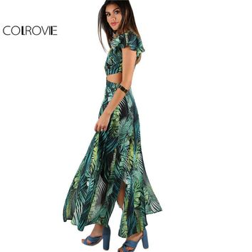 Colrovie Foliage Print Maxi Dress 2017 Green Twist Cutout M-slit Beach Summer Dresses Women V Neck Chiffon Holiday Long Dress - Beauty Ticks
