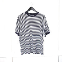 90s GRUNGE T-shirt early 1990s vintage UNISEX blue + white striped oversized relaxed fitting shirt