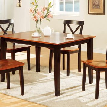 Decorous Rubber Wood 5 Pieces Dining Set In 2 Tone Brown By Poundex