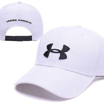 PEAPDQ7 White Under Armour Embroidered Outdoor Baseball Cap