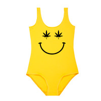 Stoned Smily Bodysuit- Yellow