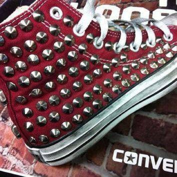 CREYON studded converse converse burgundy high top with silver cone rivet studs by customduo