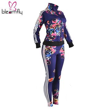 Two Piece Set Women's Tracksuits Autumn 2017 Crop Top And Pants Zipper Casual Sweatsuit Long Sleeve Printing Spring Outfits Set