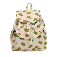 Women's Canvas Pineapple Backpack Travel Bag College School Bag Daypack