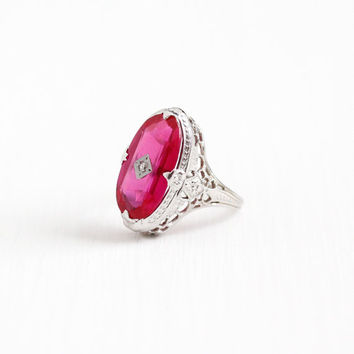 Vintage 14k White Gold Art Deco Created Ruby & Diamond Ostby Barton Ring - Size 6 1/4 Antique Filigree 1920s Maltese Pink Fine OB Jewelry