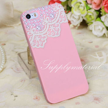 "Fashion Pearl lace  cell phone case for iPhone 5/5S Or iphone 6 4.7"" / Plus case cover"