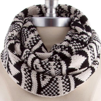Knit Scarf Infinity Scarf Tribal Print Knitted Scarf Autumn Women Accessories Christmas Gift Guide - By PiYOYO