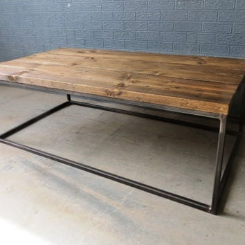 Delicieux Industrial Chic Style Reclaimed Custom Coffee Table TV Stand.Steel And Wood  Metal Hand