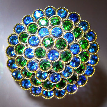 Blue Green Rhinestone LISNER Brooch, 4 Layers, Flower, Signed Vintage