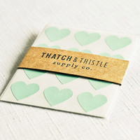 Mint Green Heart Stickers - Set of 48 - (3/4 Inch) Envelope Seals Small Gift Wrapping Party Invitations Embellishment Pretty Packaging