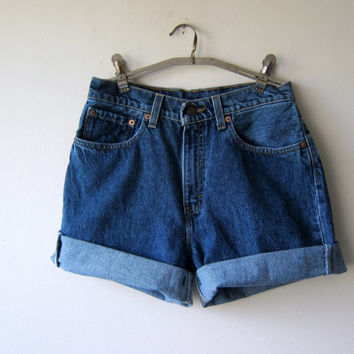 Cuffed High Waisted Denim Shorts Made from Vintage 90s Levis Jeans -- Size 6/7 -- Grunge Revival Fashion