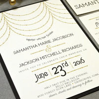 Roaring Twenties Wedding Invitation Suite - Draped Beads Wedding Invites - Art Deco Wedding Invitations - Black and Gold Wedding Pocket Set