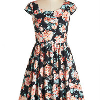 ModCloth Long Cap Sleeves Fit & Flare Garden Gazer Dress