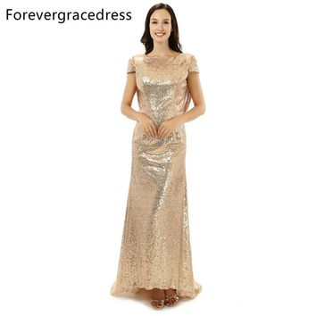 Forevergracedress High Quality Cheap Sequins Bridesmaid Dress New Arrival Long Cowl Back Wedding Party Dress Plus Size