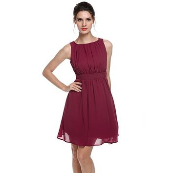 Chiffon Draped Flare Fit Dress