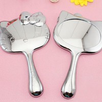 1PCS Kitty Hello Retro Plated Silver Portable Mirror Lovely Cute Handle Makeup Mirror Comb