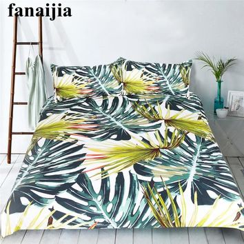 Fanaijia botanical 3pcs duvet and Bedding Set Bohemian Print Duvet Cover set with pillowcase King size AU Queen Bed best bedline