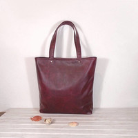 Leather bag color Wine, Tote rustic design, casual tote, everyday handbag, leather shoping bag, Messenger Bags, burgundy purse, Top handle