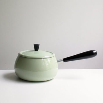 Cast Iron and Enamel Vintage Fondue Pot, Sage Green