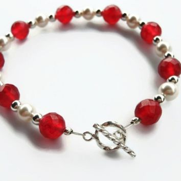Beaded Bracelet, Cranberry Quartz, Swarovski Pearl, Jewelry for Women