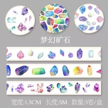 Crystals 15mm washi tape / 5M / Set of 3