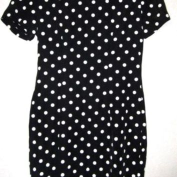 MY MICHELLE Black Vtg 70 Polka Dot Retro Mod Fitted Fit Secretary Sheath Dress M