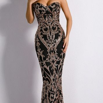 Dashing Diva Sequin Ornate Pattern Strapless Sweetheart Neck Maxi Dress - 2 Colors Available