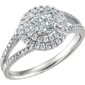 14K White 5-8 CTW Diamond Engagement Ring