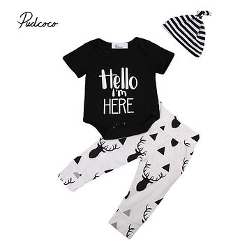 Newborn Baby Cotton Clothes Set Infant Baby Boys Girls Romper Tops Deer Pants Leggings Hat 3pcs  New Outfits