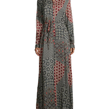 Animalia Long-Sleeve Maxi Dress, Petite, Size: